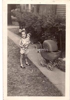 £15.61 • Buy Big Hair Bow Girl Holding Baby Doll Toy By Wicker Carriage Pram Vtg 1930s Photo