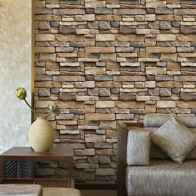 3D Stone Wallpaper Brick Sticker Peel And Stick Wall Decals Decoration For Home • 39.52£