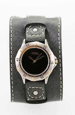 $34.85 • Buy Fossil Watch Mens Gray Cuff Leather Stainless Steel Gold Silver 50m Black Quartz