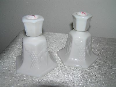 $8.79 • Buy Vintage Pair Lot Of 2 White Milk Glass W Flared Bottoms & Grapes Leaves Candle