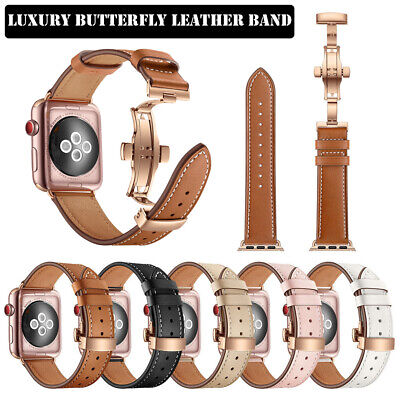 AU23.89 • Buy 40/44mm Luxury Genuine Leather IWatch Band Strap For Apple Watch Series 6 5 4 3