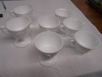 $24 • Buy 7 Pc Vintage White Milk Glass Dishes Cups Cr & Sugars Grapes & Vines