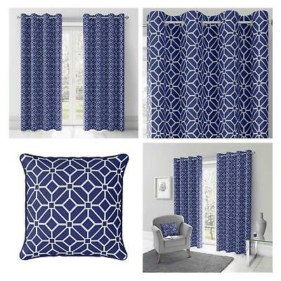Navy Eyelet Curtains Blue Geometric Lined Ring Top Ready Made Curtain Pairs • 37.95£