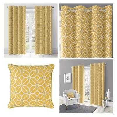 Ochre Eyelet Curtains Mustard Geometric Lined Ring Top Ready Made Curtain Pairs • 39.95£