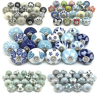 SETS OF 20 CERAMIC KNOBS Drawer Pulls Cupboard Handles Door Vintage Shabby Chic • 59.99£