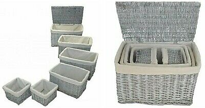 Set Of 6 Large Lined Wicker Storage Baskets  *  Shabby Chic Grey • 59.95£