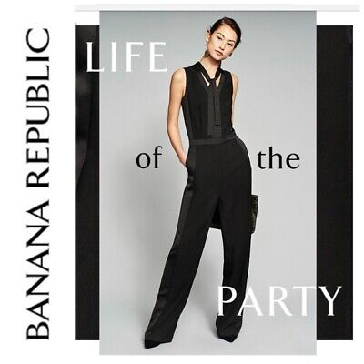 $79.99 • Buy NWT Banana Republic Tie-Neck Tuxedo Jumpsuit, BLACK SIZE 14        #396328 N0303