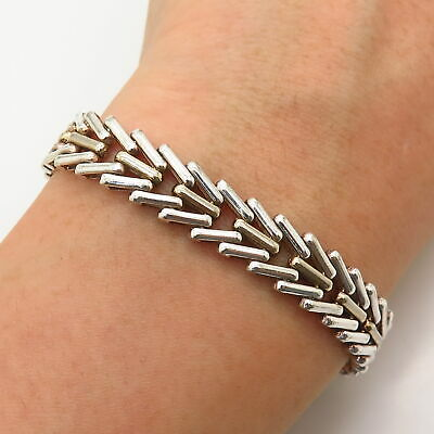 $78.99 • Buy 925 Sterling Silver 2-Tone Italy Foxtail Link Bracelet 7