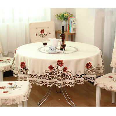 AU36.20 • Buy White Embroidered Tablecloth Floral Lace Round Table Cover Dining Banquet Decor