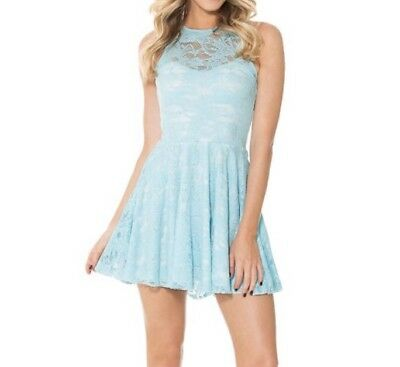 $70 • Buy M Sky Blue Lace Skater Dress Black Milk Clothing Rare Easter Spring Pastel Lace