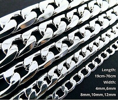 AU11.95 • Buy Necklace Bracelet Real 925 Sterling Silver Filled Solid Curb Cuban Link Chain