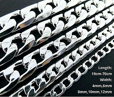 AU9.95 • Buy Necklace Chain Bracelet Real 925 Sterling Silver S/F Solid Mens Ladies Curb Link