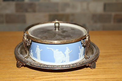 £362.82 • Buy Wedgwood Blue Jasper Ware Large Dish Crown Silver-plated Cover Stand C.1900