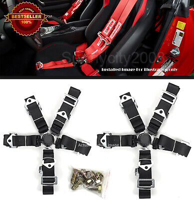 $ CDN74.52 • Buy 2 X 5-Point Cam Lock Quick Release Black Nylon Harness Seat Belt For Ford Chevy