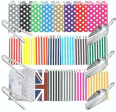 £8.75 • Buy HIGH QUALITY Candy Stripe Bags, Scoops And Tongs - DIY Candy Sweet Buffet, PARTY