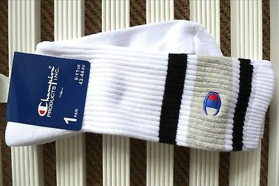 CHAMPION White Ribbed Mens Crew Athletic Sports SOCKS *CHOOSE UK 6-8 Or 9-11* • 13.99£