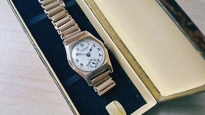 Vintage Mid Size1920's .375 9ct Gold J.W.Benson Wrist Watch & Box  • 250£