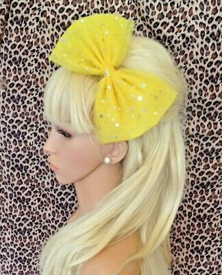 £3.99 • Buy BIG YELLOW SPARKLE BOW TULLE TUTU NET ALICE HAIR HEAD BAND 80s PARTY FANCY DRESS