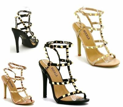 New Womens Studded Ankle Strap High Heels Rivet Gladiators Pointy Sandals Shoes • 17.99£