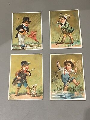 1890s French Trade Cards Boys In Costume Complete Set Of 4 Cards  • 4.99£