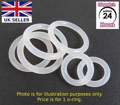 £0.99 • Buy FOOD GRADE O-Ring. VARIOUS SIZES. CLEAR SILICONE Rubber O Rings. Just Buy 1 Or 2