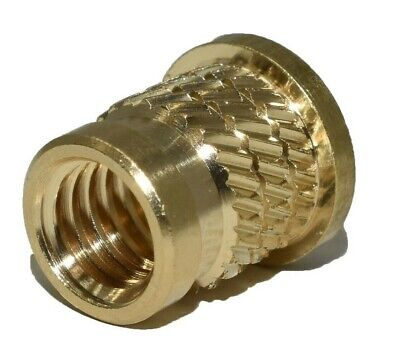£4.39 • Buy Threaded Inserts Solid Brass Knurled Flanged Metric Inserts Nuts M3 M4 M5 M6