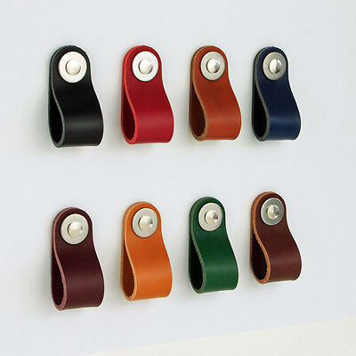 £4.90 • Buy Leather Drawer Cabinet  Cupboard Handles Ikea Pulls Knobs Poignee Cuir Pull S4