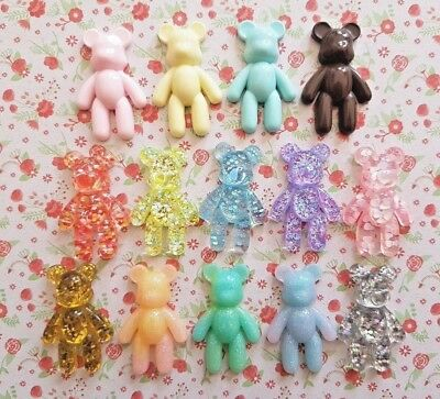 Large Teddy Bear Sparkly Flatback Resin Embellishment Crafts Decoden Cabochon UK • 2.25£