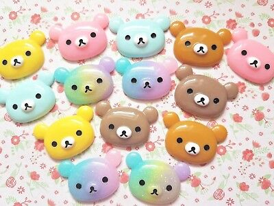 Cute Kawaii Bear Resin Flatback Cabochon Embellishment Crafts Decoden Bow • 1.45£