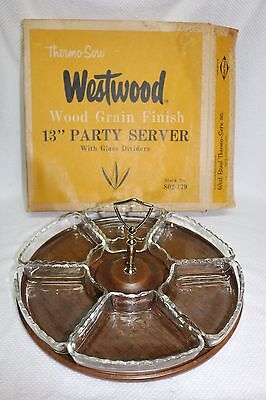 AU23.16 • Buy Westwood Thermo-Serv Wood Grain Finish 13  PARTY SERVER, Glass Dividers, 802-179