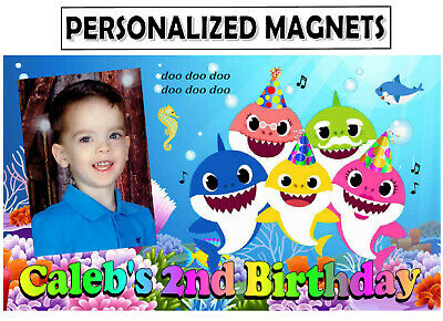 $12.99 • Buy 12 Baby Shark Birthday Party Favors Photo Magnets