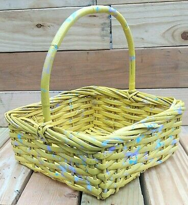 Hand Painted Yellow W/ Purple & Blue Splatters Wicker GIFT Or EGG BASKET Medium • 20.82£