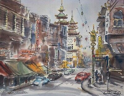 $ CDN260.83 • Buy Beautiful Watercolor Of China Town Signed  Esther Sille  Excellent Quality!