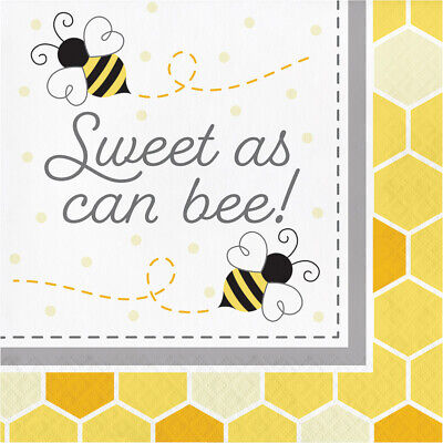 £3.79 • Buy 16 X Bumblebee Party Sweet As Can Bee Napkins 33cm Birthday Tableware Supplies