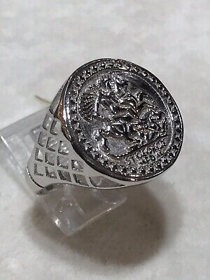 £37.49 • Buy Genuine 925 Sterling Silver Half Sovereign St George Imitation COIN RING