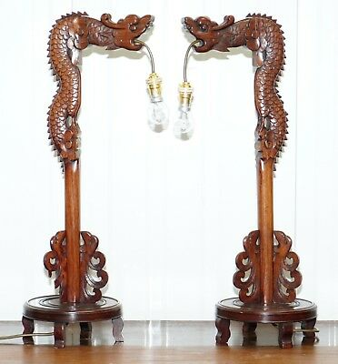 Pair Of Chinese Mahogany Dragon 1920's Hand Carved Wood Table Lamps Part Of Set • 400£