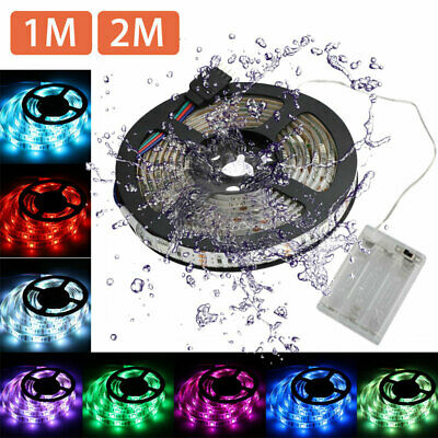 $10.97 • Buy Waterproof 5050 RGB Multicolor Battery Powered LED Flexible Light Strip 1M/2M