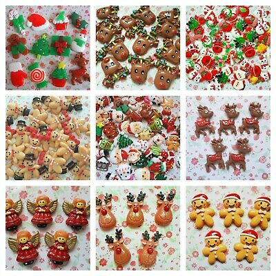*Many DESIGN* CHRISTMAS Resin Flatback Cabochon Embellishments Decoden Craft  • 2.80£
