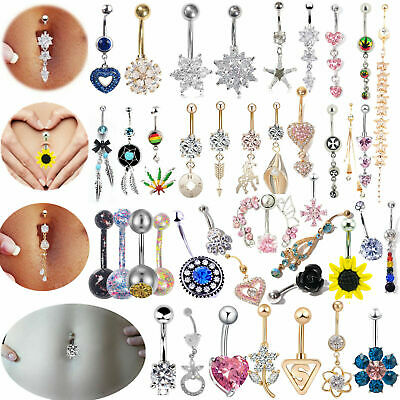 £2.54 • Buy Belly Bars New Belly Bar Crystal Dangly Reverse Button Rings Top Drop Navel
