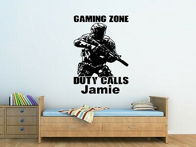 £13.50 • Buy Personalised Kids Call Of Duty Soldier Army Wall Art Sticker Boys Bedroom  Decor