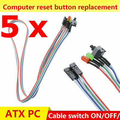 £14.12 • Buy 5 X ATX PC Computer Motherboard Power Cable Switch On/Off/Reset With LED USA