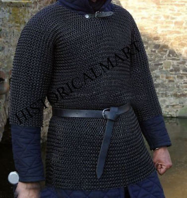 10mm Chainmail Haubergeon Butted Mild Steel Shirt -large Shirt Blacked Armor • 99£