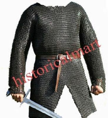 £175.20 • Buy  9MM CHAINMAIL SHIRT MEDIEVAL HAUBERK LARGE Armor FLAT-RIVETED-WITH-WASHER