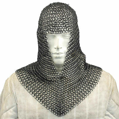 10mm Butted Black Knights Steel Chainmail Chain Mail Coif Armor Hood For Hauberk • 76.89£