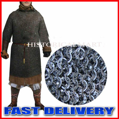Mild Steel X Large Black Flat Riveted Long Sleeves Hauberk Chain Mail Shirt • 151.58£