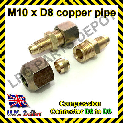 £4.44 • Buy Copper Pipe Compression Connector Adaptor M10xD8 Pipe 6mm To 8mm Adapter Joint