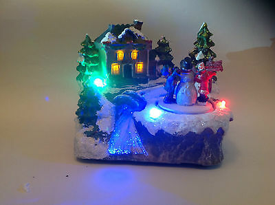 Christmas Decoration LED Fibre Optic House With Snowman & Family Xmas Scene • 19.49£