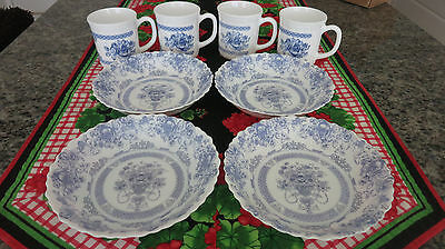 Arcopal France Honorine Coupe Soup Cereal Bowls And Cups Set Of  4 Each • 24.99$