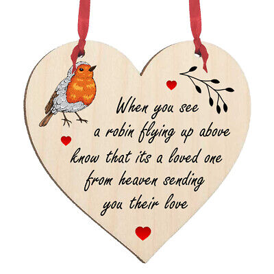 £3.99 • Buy Robin Memorial Wooden Heart Hanging Sign Plaque Decoration Wall Tree Gift