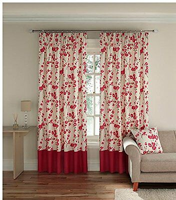 £24.99 • Buy NEW Montgomery Lined Pencil Pleat Curtains 46 Width 72 Drop Wasabi Coral RRP£44
